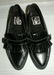 TUK Goth Punk Black Leather Kiltie Toe Creepers Platform Shoes Mens 5 Womens 7