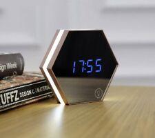 Alarm Clock LED Wall Mirror Digital Display Snooze Light Emitting Thermometer