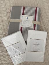 Pottery Barn Jackson Stripe Full Queen duvet cover + 2 white shams New Sale