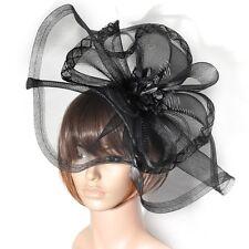 wedding party women lady  hair accessory handmade large clip hat veil fascinator