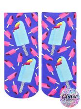 Rainbow Popsicles Glitter Ankle Socks