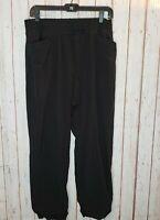 T By Talbots Womens sz LP Pull On Stretch Black Crop Capri Athletic Pants