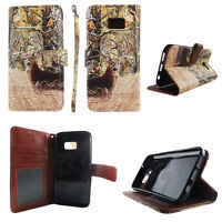 Flip Wallet Case Deer Camouflage for Samsung Galaxy S7 Cash id Slot Stand Cover