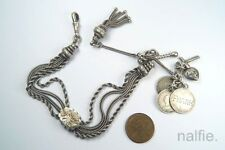 ANTIQUE VICTORIAN SILVER ALBERTINA WATCH CHAIN BRACELET w/ COIN LOVE TOKENS etc