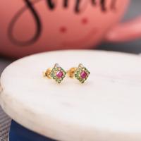 14K Gold Ohrringe Natur Rubin & Tsvorite Edelstein Ohrstecker Weihnachtsgeschenk