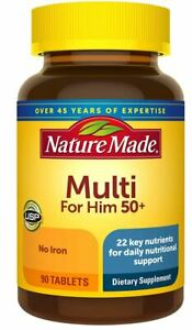 Nature Made Mens Multivitamin 50+ Tablets with Vitamin D Nutrients Support 90 ct