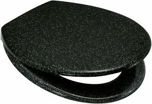 BLUE CANYON STARLIGHT BLACK GLITTER RESIN TOILET SEAT STAINLESS STEEL BATHROOM
