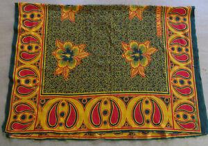 vintage retro 1960s 1970s Kanga Sarong Wrap Kenya hibiscus red green yellow