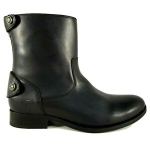 Frye Melissa Button Short Boots Womens Size 7 Leather Cowboy Black Round Toe