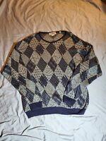 Mondo di Marco Mens Sweater Size Medium Knit Crew Neck Pullover Brown