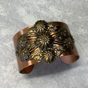 Handmade copper and brass wide floral cuff bracelet boho style
