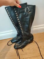 Women's SACHA LONDON Real Leather Knee High Riding Lace Up Boots Black UK 4 EU37