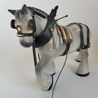 Large Vintage Grey Shire Heavy Cart Horse Dray Leather Harness Bridle :C3