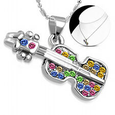 Guitar Necklace with colourful CZ Stones - Great Gift For Any Guitar Lover