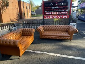 OLD ENGLISH LONDON VINTAGE TAN CHESTERFIELD SOFAS