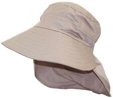 Women's Floppy Wide Brim Summer Hat W/Neck Flap, Bonnet, Bucket #1009 Tan