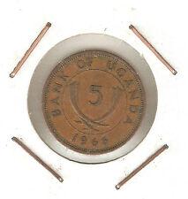 Uganda: 5 Cents 1966 VF