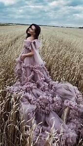 Luxury Ruffles Maternity Dresses V-Neck Tulle Maternity Gown For Photoshoot