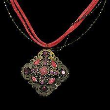 Très beau, original Collier en bronze, strass, croûte de cuir, bijoux fantaisie
