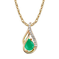 10k Yellow Gold Genuine Pear-shape Emerald & Diamond Halo Drop Pendant Necklace