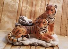 "Home Interiors Masterpiece Porcelain ""Siberian Tigers� Endangered Species Euc"