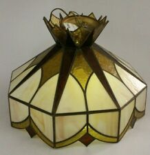 Mid Century Modern Stained Glass Hanging Chandelier Lamp Shade Golden Sunburst
