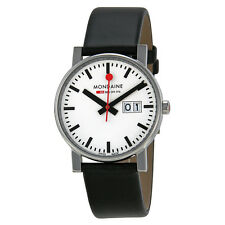 Mondaine Evo Swiss Railways Big Date White Dial Black Leather Mens Watch