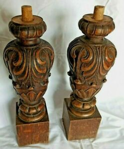 """*15"""" Antique French Pair of Corbels/Pillars/Columns Oak Wood Carved Salvage"""