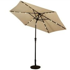 Beige 9-Ft Patio Umbrella with Steel Pole Crank Tilt and Solar LED Lights