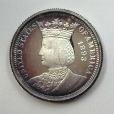 1893 ISABELLA EXPO SILVER 25 CENTS -PRIVATE MINT- NEAR PERFECT PROOF DCAM