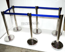 TECHTONGDA 6 Stanchion Posts Queue Pole Retractable Belt Crowd Control #170519