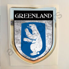Greenland Sticker Coat of Arms Resin Domed Stickers Grunge Flag 3D Adhesive