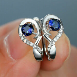 Delicate 1.30Ct Round Blue Sapphire Huggie Hoop Earrings 14K White Gold Finish
