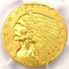 1911-D Indian Gold Quarter Eagle $2.50 Coin (Weak D) - PCGS AU58 - $3,600 Value!