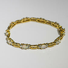 """RADIANT STERLING SILVER GOLD TONED BRACELET WITH OPALS 7.5"""" INCHES"""