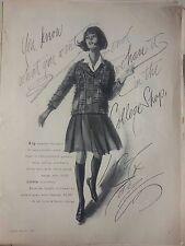 1963 Lord Taylor Fashion Wool Check Pattern Bermuda Length Original Ad