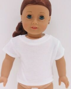 White T-Shirt fits American Girl Dolls 18 inch Doll Clothes Short Sleeve