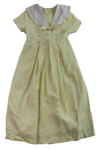 Vtg Bonnie Jean Pastel Yellow SS Easter Spring Dress Sailor Collar Sz 10