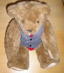 Vermont Teddy Bear Business Man Outfit Grey Flannel Vest
