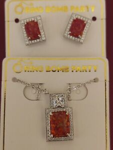 Bomb Party - Original Collection - Hot Pink Fire Opal/Topaz necklace & earrings
