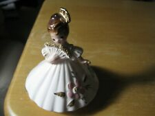 Josef Originals International Spain, white dress with pink flower, holding fan