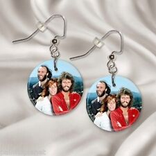 """BEE GEES  1"""" Button Dangle Earrings  FREE PIN  USA Seller"""