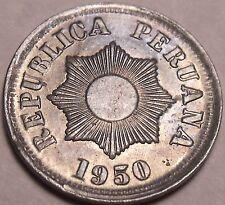 Escaso Raro UNC Perú 1950 2 Moneda ~ Radiante Sol ~ Primeros Año Ever ~ Zinc ~