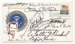 Richard Nixon Postal Cover Signed by 9 Political Figures
