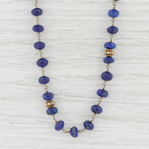 New Nina Nguyen Blue Lapis Lazuli Bead Necklace Adjustable Sterling Gold Vermeil