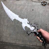 "21"" Medieval Fantasy Dragon Saber Sword Knife Dagger Blade w/ Wood Stand Display"