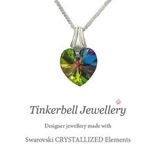 925 Girl's Sterling Silver Necklace w Swarovski Rainbow VM Crystal Heart, Boxed