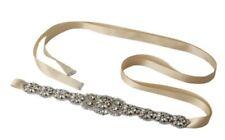 Bridal Wedding Bridesmaids Dress Rhinestone Crystal Pearl Sash Gold Ribbon Belt