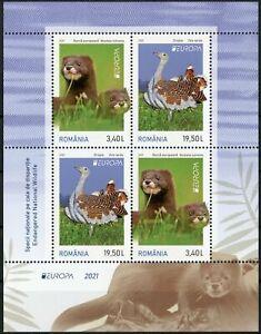 Romania Europa Stamps 2021 MNH Endangered National Wildlife Minks Birds 4v M/S I