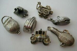 VTG English Sterling Silver AS IS Bracelet Charm Lot MOVABLE~OPEN~MECHANICAL
